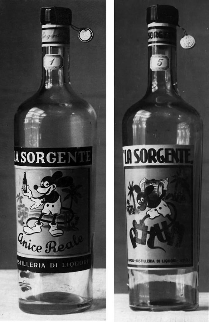 Topolino nato a Napoli bottiglie liquori La Sorgente Michele Sorece